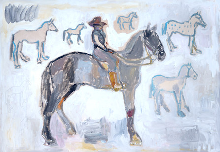 Equestrian Painting_ Ranger With Seven And ½ Horses