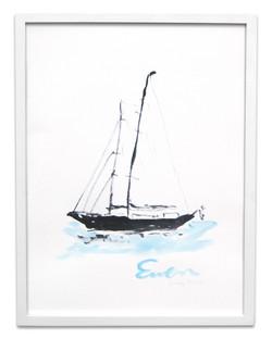 Sailboat, blue water