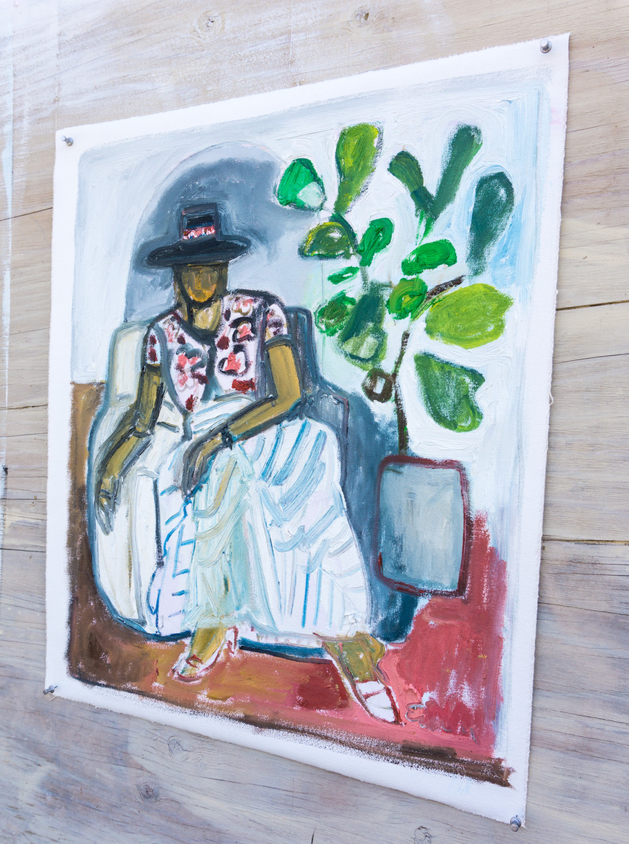 Signora in Hat with Fiddle Leaf Fig Tree (detail)