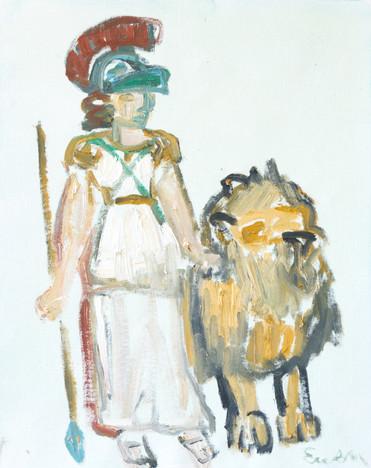 Warrior Goddess with Lion 2