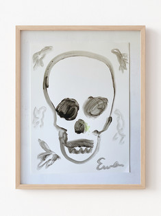 Skull (Black and White With Birds)