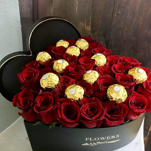 Roses and Chocolates in a box