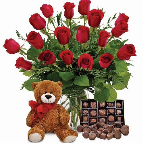 18 Roses, Chocolates, Teddy Bear