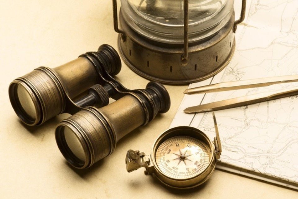 compass, binocular, map