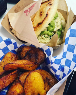 Arepa with side of fried plantains