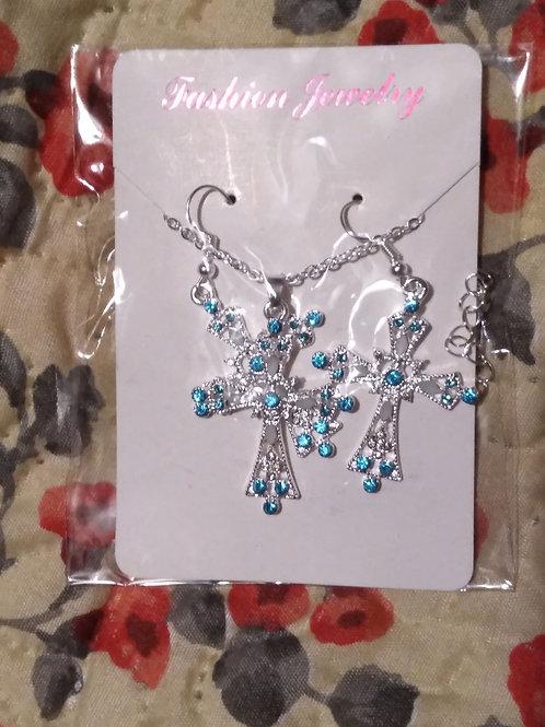 Blue Silver Tone Cross earrings & Necklace set