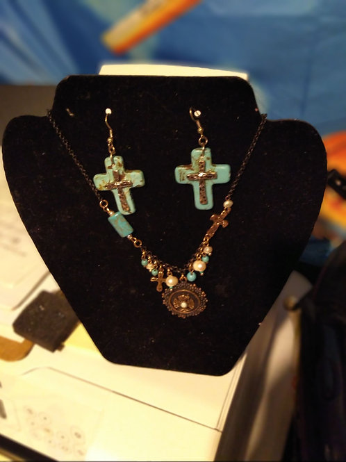 Cross Necklace ad Earring set