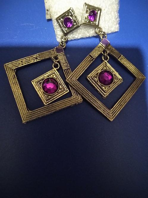 Gold Tone Purple Stone earrings