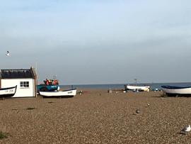 Vintage boats on Albeburgh beach