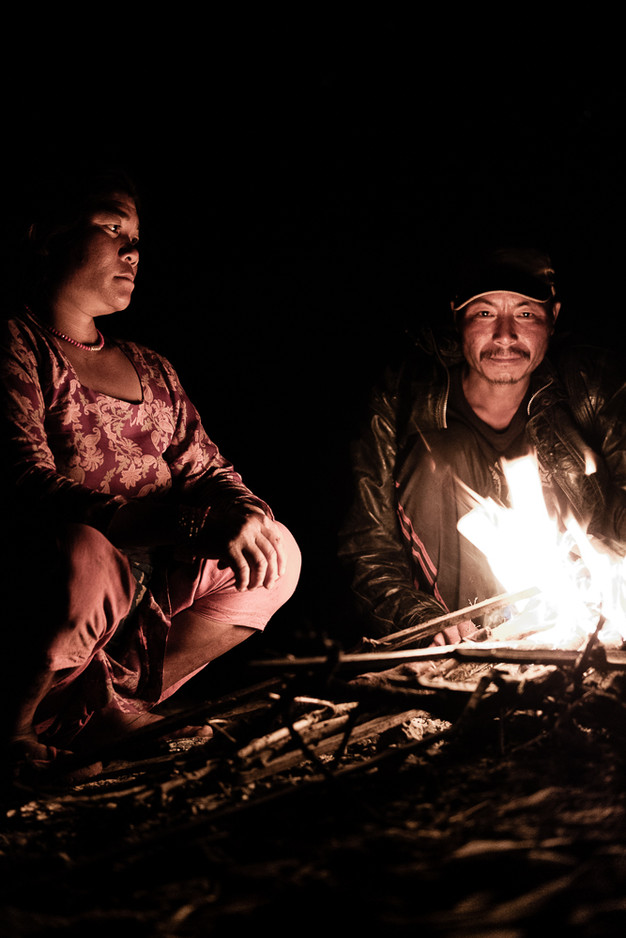 Spending the evening around the fire with our hosts.