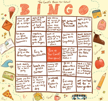 Bingo sheet for The Coast's annual Back To School print issue