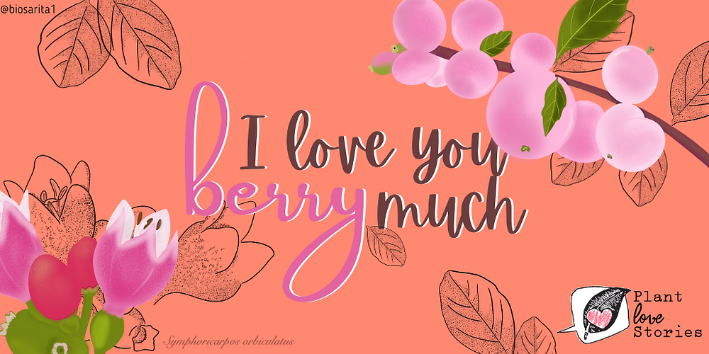 "Illustration of a coralberry with the words ""I love you berry much"""