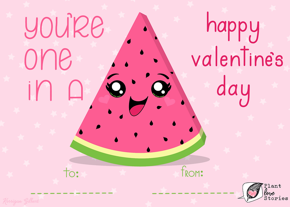 "Illustration of a watermelon slide with the words ""youre one in a"" and ""happy valentine's day"""