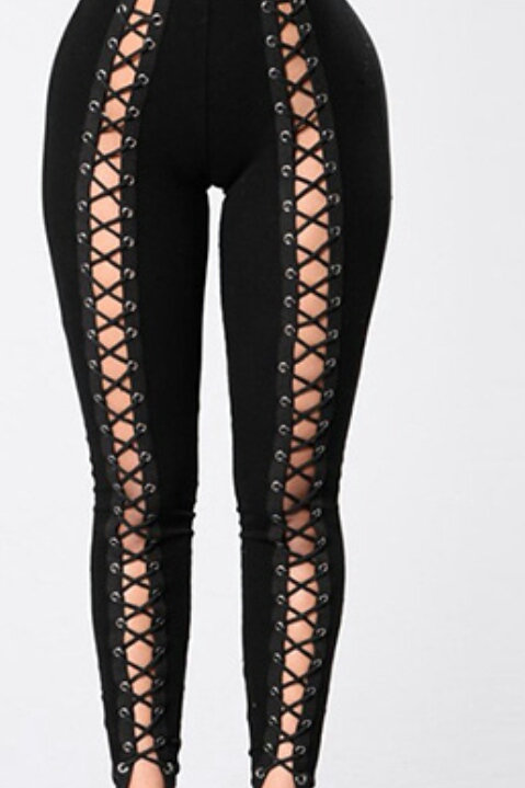 High Waist Black Polyester Lace Up Leggings