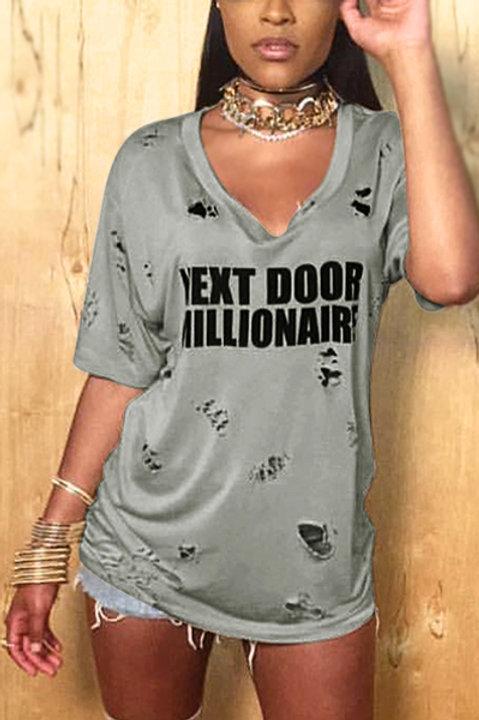 Next Door Millionaire Short Sleeve Broken Holes Mini Dress  (Gray)