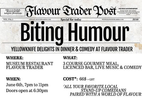 BITING HUMOUR : dinner & comedy show, June 6th 2019