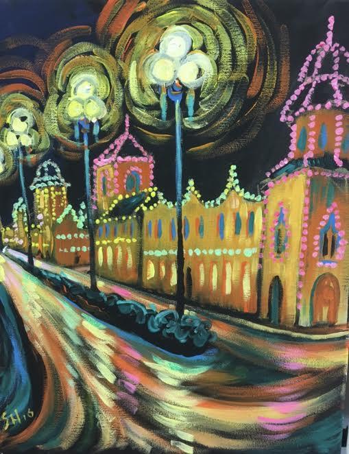 Colorful Plaza Lights