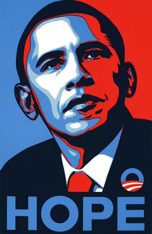 Immagine stilizzata di Obama, hope