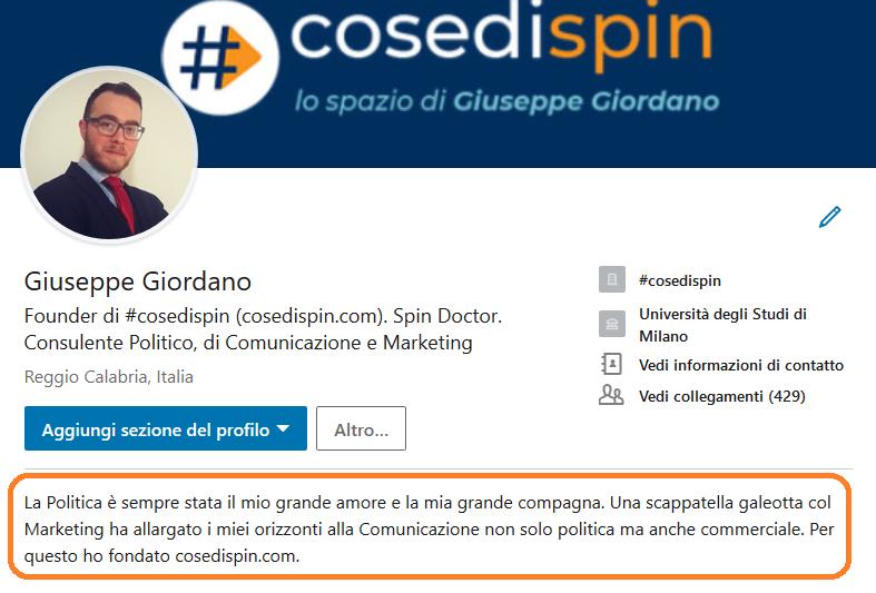 LinkedIn, sommario, profilo, Giuseppe Giordano, #cosedispin