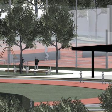 Tennis und Spielplatz