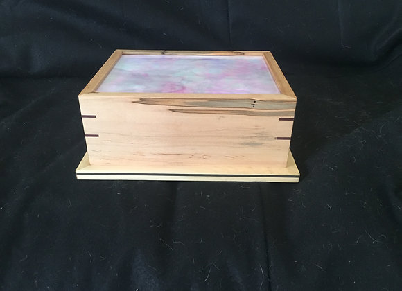 Cremation Urn; iridescent pink glass lid