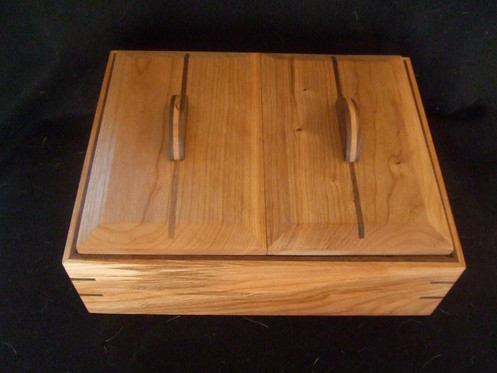 Handmade Wooden Keepsake Box In Cherry Dual Lid