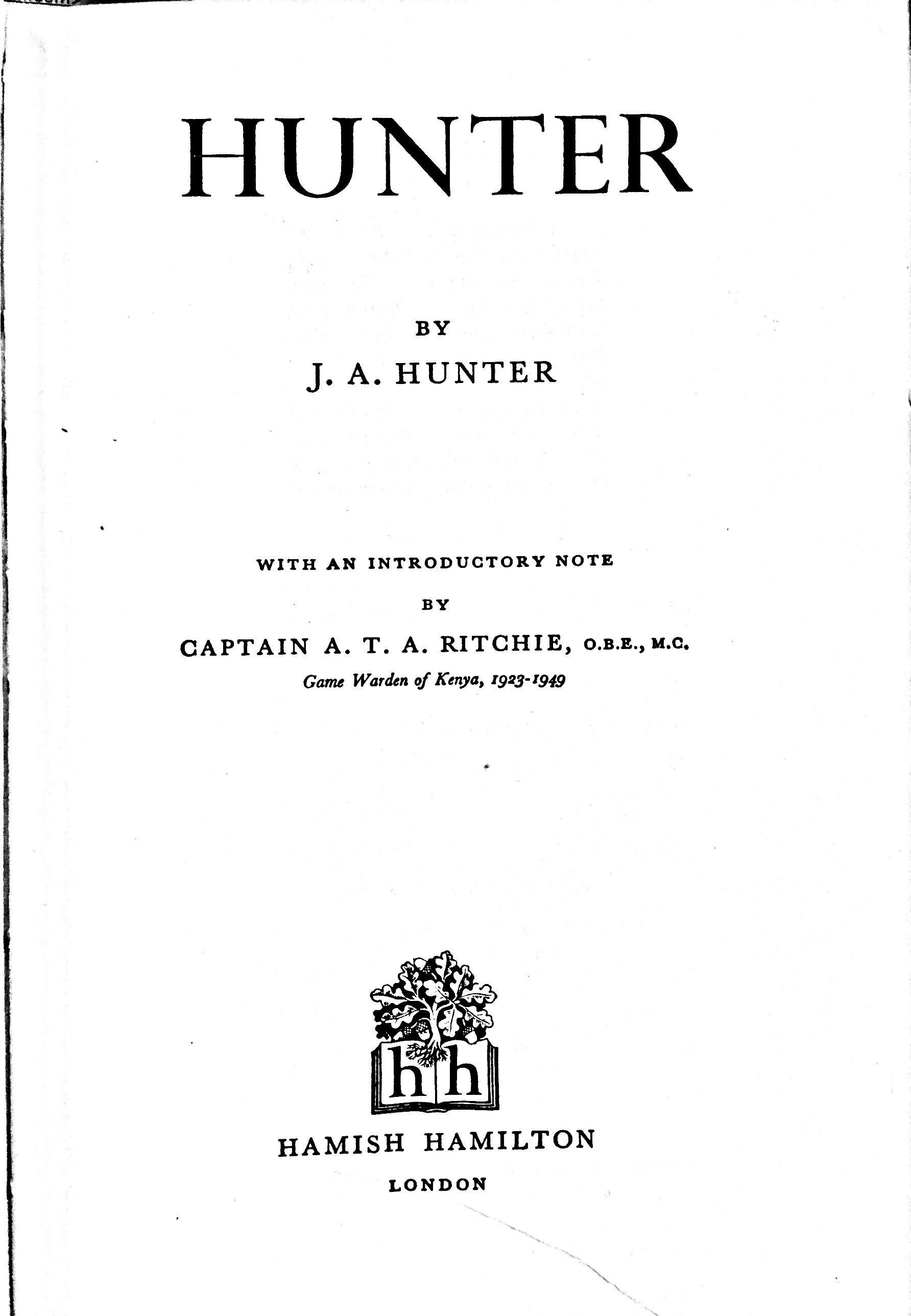 Hunter - inside cover