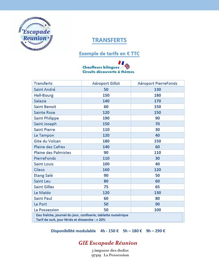 tarifs transfert