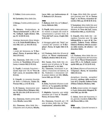 Tratto da Prodromo del Catalogo Generale di Mino Delle Site a Cura di M. P. D'Ambrosio, Ed. M.I.S.S. Srl, 2018