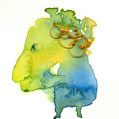 People de la Mancha - watercolour and thread