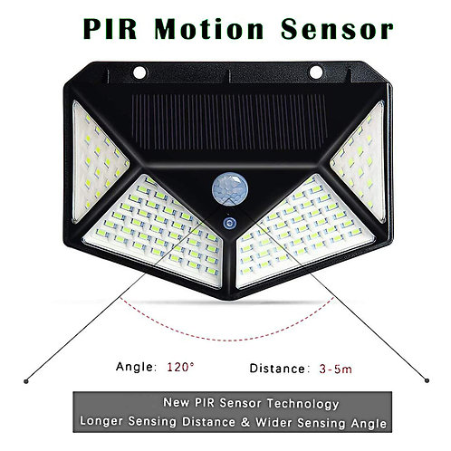 Waterproof 100 LED 270º Solar Panel Power Motion Sensor Solar Lights