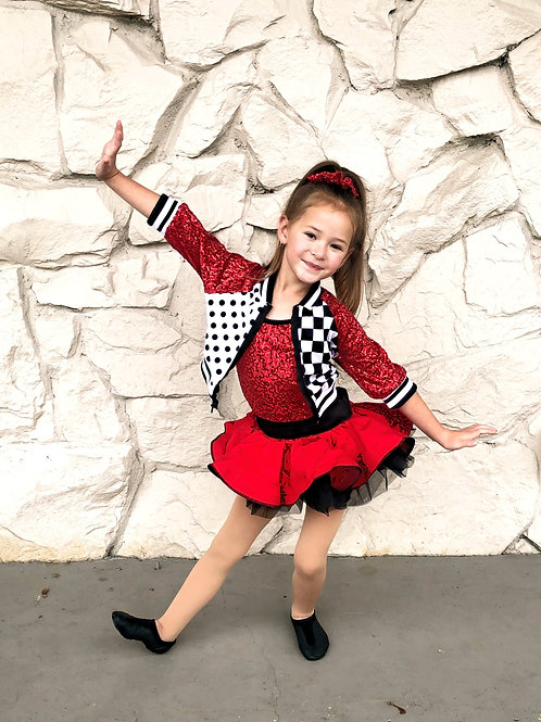 Small & Inter. Child size one leo with attached skirt + jacket
