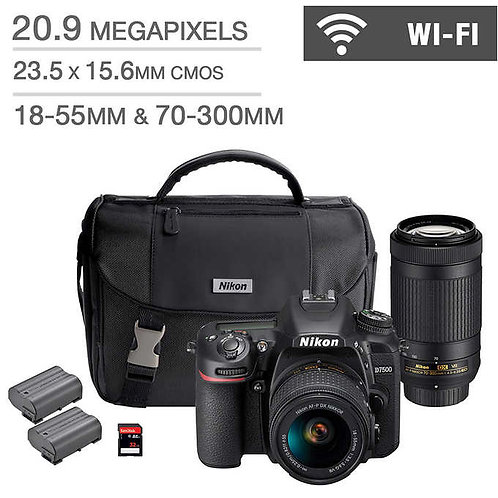 Nikon D7500 DSLR Camera 2 Lens Bundle