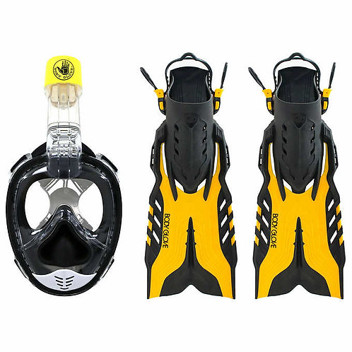 Body Glove Full Face Snorkel Mask and Fin Combo Set