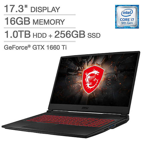 MSI GL75 Raider Gaming Laptop - 9th Gen Intel Core i7-9750H - GeForce GTX 1660 T