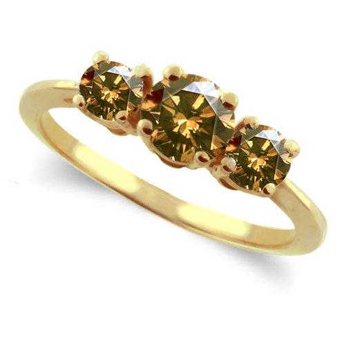 Three Stone Ring- 1 Carat Champagne Diamond Ring 14K Gold