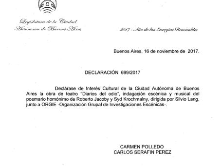 Diarios del Odio Obra de Interés Cultural en Buenos Aires
