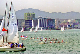 Rowing in Hong Kong Victoria Harbour during Centenary Row Past in 1994