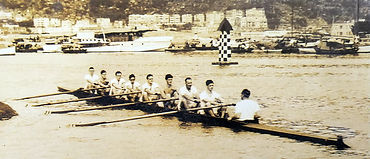 Rowing in Hong Kong Victoria Harbour in 1950s