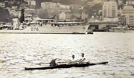 Rowing in Hong Kong Victoria Harbour during Around the Island Race 1953