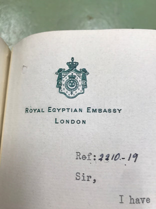 Confidential letters from the British Ambassador to Egypt to the British Prime Minister. Visit to the Kew Archives, August 2019.