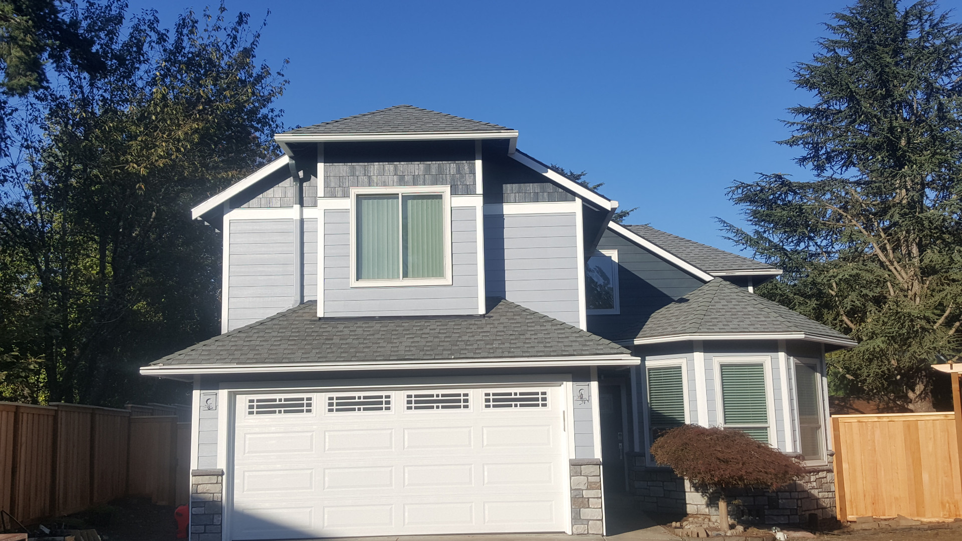 West Linn Home after reside with James Hardie siding, Trim, Shake, Belly Bands