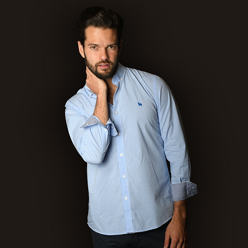 Camisa Cuadros Azul Cielo
