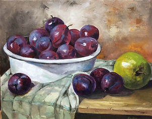 Plums and Apple.JPG