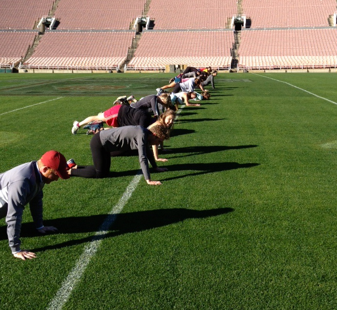 Push-ups on the 50 yard-line