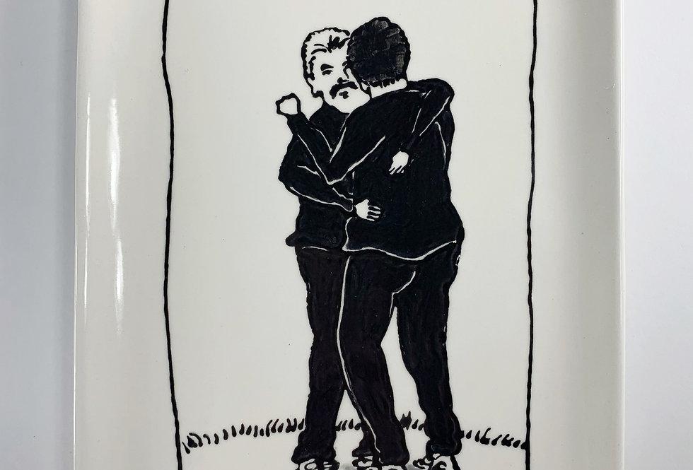 2 Men Hugging Platter