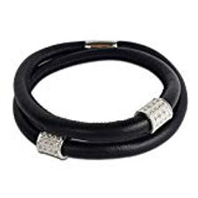 Black Leather with sterling silver