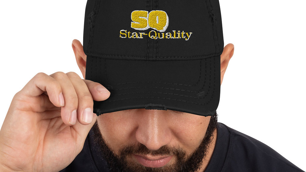 "Yellow ""Star-Quality"" Letters Distressed Hat"