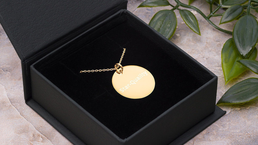 """""""Star-Quality"""" Engraved Silver Circle Necklace"""