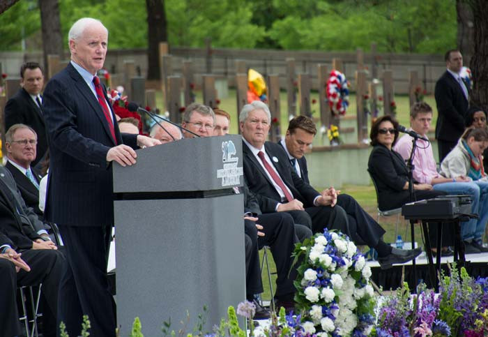 Governor Frank Keating, speaking at ceremony for the 20th anniversary of the bombing